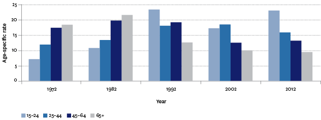 Figure H3.3 – Age-specific suicide mortality rates, by age group, 1972–2012