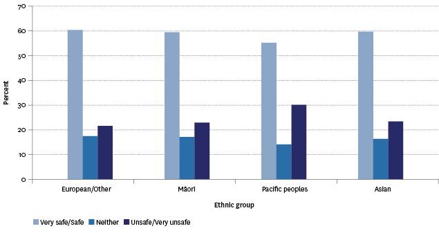 Figure SS2.2 – Proportion of population aged 15 years and over by feelings of safety about walking alone in their neighbourhood after dark, by ethnic group, 2014