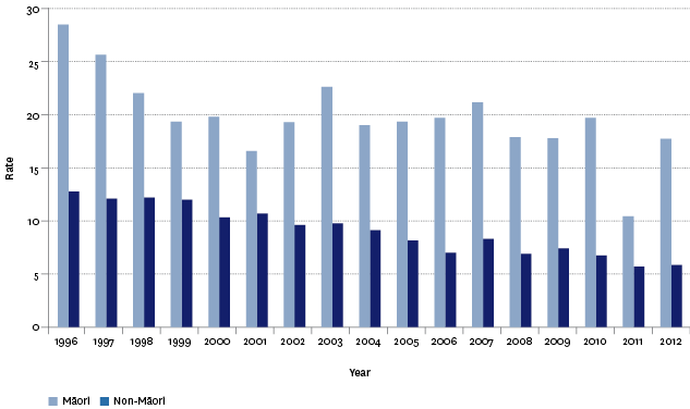 Figure SS4.3 – Motor vehicle traffic crash mortality age-standardised rates, by ethnic group, 1996–2012